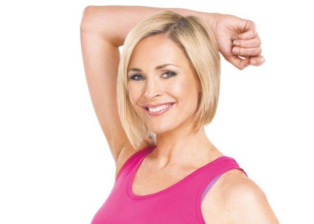 Jenni Falconer posing in gym gear