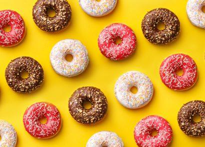 Flat-lay of sugar donuts