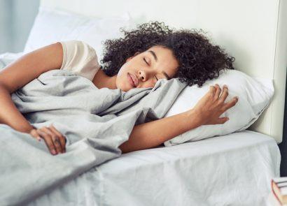 woman getting a good night's kip
