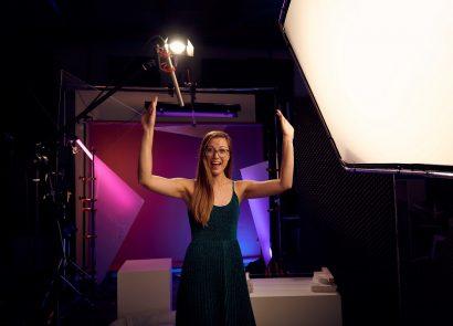 editor natalie osborne behind the scenes at video studio
